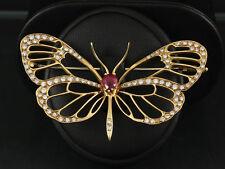 Wunderschöne Schmetterling Brosche von Loth Bijoux   10,1g 750/- Gelbgold