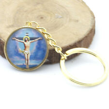Gold God Jesus Cross Christian Faith Keychains Cabochon Glass Keyring