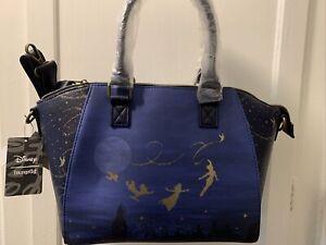 NWT Disney Loungefly Peter Pan Blue Purse Bag Satchel Night Sky