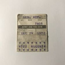 Ted Nugent Wings Stadium Kalamazoo MI Concert Ticket Stub Vintage Dec 29 1977