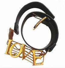 Vintage DOLCE & GABBANA Belt Love Large Black Gold Letters Chain Hip Sling