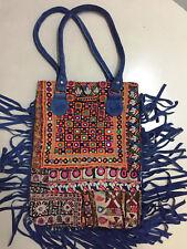 Vintage Fringe Leather Hand Bag Indian Embroidery Shoulder Bag Ethnic Gypsy Bag