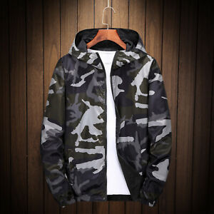 New Mens Camouflage Hooded Jacket Casual Loose Coat Reversible Plus Size L-7XL