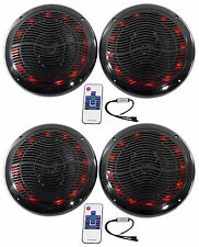 "(4) Rockville RMC80LB 8"" 800w Black Marine Speakers w Multi Color LED + Remote"