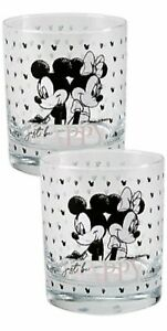 2 X Disney Mickey & Minnie Mouse Glass Set Just Be Happy Drinking Glasses Gift