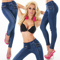 Womens skinny high waist Jeans with contrast threads Blue UK 6 8 10 12 14
