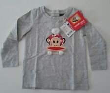 Paul Frank Kids Tshirt Top Designer Small Paul L/S Pom poms light Grey 2year old