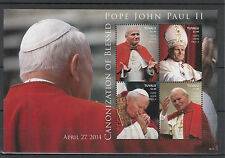 Tuvalu 2014 MNH Canonization Blessed Pope John Paul II 4v M/S II Popes