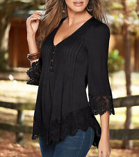 Plus Size Women Sexy-V Tops Loose Long Sleeve T-Shirt Casual Blouse Tops Fashion