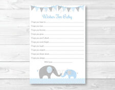 Blue Chevron Elephant Baby Shower Wishes for Baby Advice Cards Printable