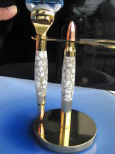 Handmade white & gold web Trustone 24K Bullet Fusion Razor handle with Stand
