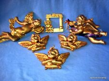 Set of 6 Weathered Gold Plastic ANGEL CHRISTMAS ORNAMENTS w/ Glitter Accents EUC
