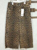 NWT Zara Women's Leopard Mid Rise Culotte Wide Leg Jeans Raw Hem Animal Print 4