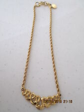 "Women's Fashion Jewlery Gold tone Necklace 16"" rope"