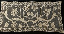 """Old Italian Lace Runner Gorgeous Embroidery on Net Grapes Pattern 16"""" x 33 1/2"""""""