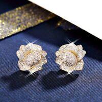 18K Yellow Gold GF Full Simulated Diamond Studded Beauty Flower Stud Earrings