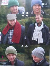 King Cole 3461 Aran Hats & Scarves Knitting Pattern 7 Years- Adult