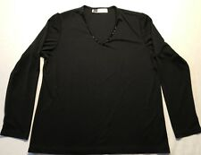 Tomorrows Mother Womens Top Embellished Beaded V-Neck Long Sleeve