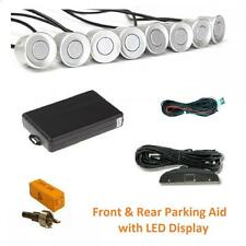 Silver 8 Point Front & Rear Parking Sensor Kit with LED Display 12v - Toyota
