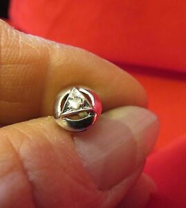 Sterling & White Gold Filled Tie Tack w Small Diamond Center (869)
