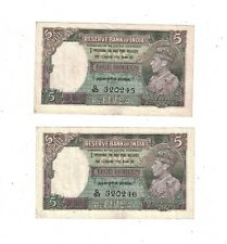 British India 1937 5 Rupees P19a VF 2 Consecutive notes PB2