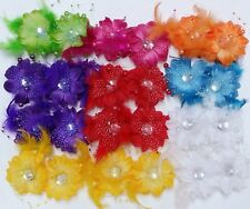 LOT OF 24 FLOWER BLING HAIR BOWS ALLIGATOR CLIP BARRETTE FEATHER FANCY PARTY TIE