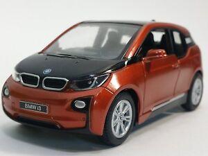"Brand New 5"" Kinsmart BMW i3 Diecast Model Toy Car 1:32 Pull Action ORANGE"