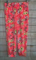 Cherokee Pink Bright Floral Pants Size XL 14/16 Back To School
