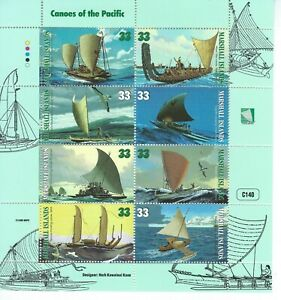 Marshall Islands Sc 690a-h  Canoes of the Pacific Pahi Sailing canoe, Maori war,