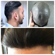 Invisible Mens Micro Skin Hair Replacement System Hairpiece Toupee Natural Black