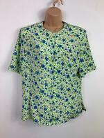 WOMENS VIYELLA GREEN/BLUE/PURPLE FLOWER PATTERN SHORT SLEEVE PAD BLOUSE SIZE 10