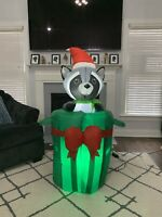Gemmy Animated Airblown Inflatable Raccoon In Trash Can Pop Christmas Yard Rare!
