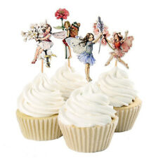 Hot 24pcs Flower Fairy Girls Cupcake Toppers Party Picks Food Pick Cake Decor