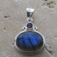 Canadian, Blue Shining LABRADORITE & Amethyst Pendant, 925 STERLING SILVER #0085