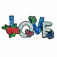 Sequin LOVE TEXT Flower Butterfly (Iron on) Applique Patch Sew Iron Badge
