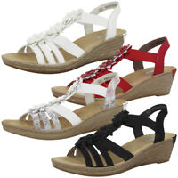Rieker Sandalen Antistress Keil Sandaletten Pantoletten Women Schuhe 62461