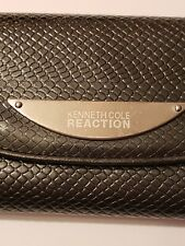 Kenneth Cole Reaction Womens Faux Snakeskin Trifold Wallet Clutch Gunmetal Grey