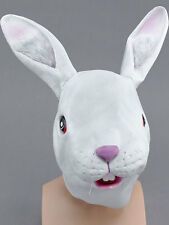 White Rabbit Head Mask Rubber Latex Fancy Dress Party Easter Bunny Cosplay
