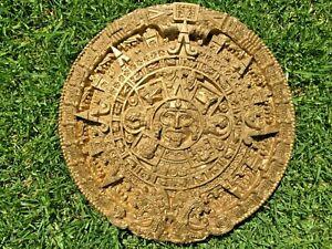 Ancient Aztec sun stone calendar, plaque art. 34cm diameter.
