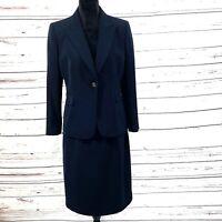 Tahari ASL Petite Women's 2PC Skirt Suit Blazer Buttons Black Career size 12P