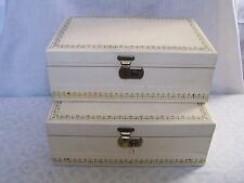 Vintage Mele Ivory Gold Jewelry Boxes 2 with Key Mid Century
