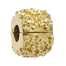 🌸 Pandora golden flower 14k gold clip bead charm #750507 New nib authentic