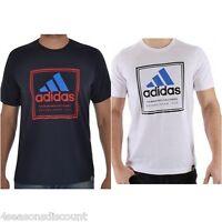 New Mens Adidas Crew Neck  Cotton Tee T-Shirt  Size S M L XL XXL BLACK / WHITE