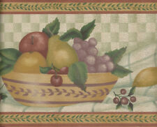 Country Fruit Bowls with Light Green Check and leaf Trim  WALLPAPER BORDER