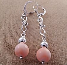 Genuine Coral Round Shape 9mm Silver 925 Dangle Lever back Filigree Earrings M18