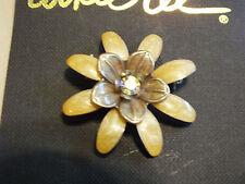 Collectible Beautiful Brooch Gold Enamel Flower AB Rhinestone 1 1/2 Inch NICE