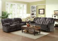 Modern Living Room Furniture Microfiber Reclining Sofa Couch & Loveseat Set IF5P