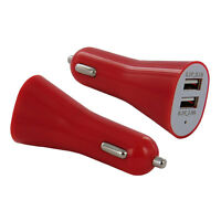 Red Dual 2.1 Amp Long USB Car Charger Adapter for Smartphones / Tablets