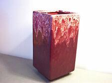 Gonder Original Column Vase Maroon White Drip Rectangle Mid Century Modern