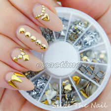 Nail Art Metallic Studs Heart Square Round Hollow Rhinestone Acrylic Tips Stud
